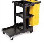6173-88  Cleaning Cart with Zippered Yellow Vinyl Bag