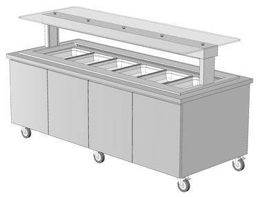 island buffet with drop in cold well 3d equipment